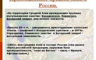 Присоединение средней азии к россии