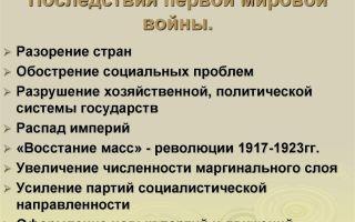 Последствия первой мировой войны