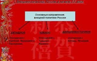 Направления политики и развития россии в начале xx века