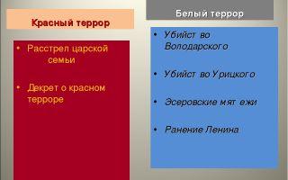 Общие черты и различия красного и белого террора