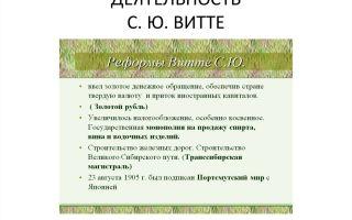 Реформаторская деятельность с. ю. витте