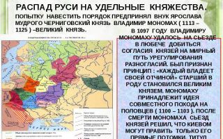 Распад киевской руси на феодальные княжества