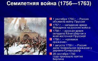 Семилетняя война 1756-1763 гг.