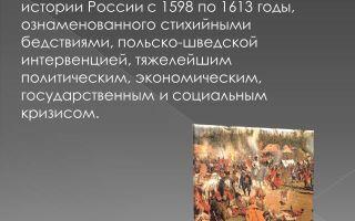 Смутное время с 1598 по 1613 годы